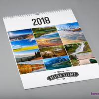 Projekt strony otwierającej kalendarza ściennego. Poza logo firmy i rokiem umieściliśmy 12 zdjęć użytych wewnątrz kalendarza.