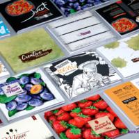 Przykładowe projekty kolorowych broszur, zadruk CMYK.