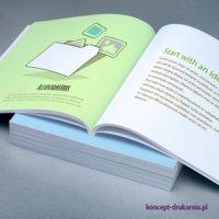 Zdjęcie pokazuje wydruki przykładowych broszur klejonych w formacie 21 x 21 mm, zadruk CMYK.