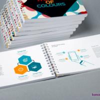 Katalogi spiralowane gwarantują wygodę korzystania. Wnętrze wydrukowane na papierze offsetowym 120 g/m2.