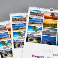 Na okładce kalendarza warto powtórzyć 12 grafik umieszczonych na kartach poszczególnych miesięcy.