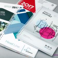 Pięć ciekawych projektów okładek broszur spiralowanych wydrukowanych na kredzie matowej 350 g/m2.