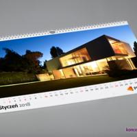 Kalendarz w formacie A3 poziom zawiera miesięczne kalendarium, logo firmy oraz dużą kolorową grafikę.