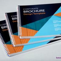 Wydruki eleganckich broszur w oprawie spiralowanej po krótkim boku, kolorystyka CMYK.