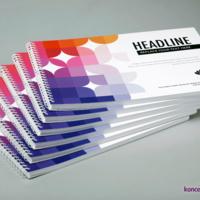 Katalogi spiralowane w formacie A4 poziomo, kolorowy druk CMYK.