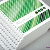 Eleganckie broszury spiralowane wydrukowane na papierach kredowych.