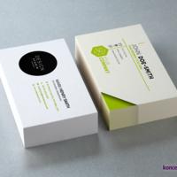 Dwa projekty kolorowych wizytówek wydrukowanych w drukarni koncept.