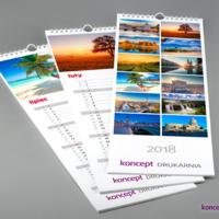 Kalendarze ścienne SLIM zawierają praktyczne kalendarium, kolorową grafikę oraz logo firmy.
