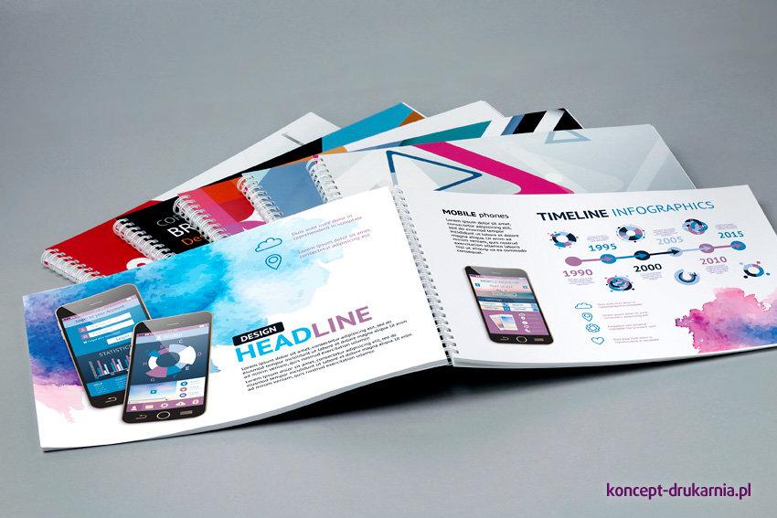 Praktyczne katalogi spiralowane wydrukowane w kolorystyce CMYK. Idealnie sprawdzają się do prezentacji produktów firmy.