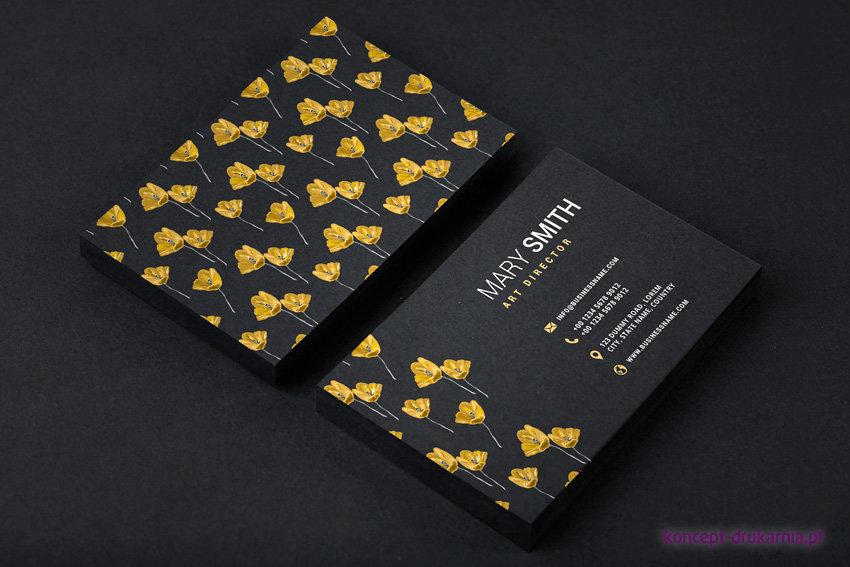 Ciekawy projekt wizytówki dwustronnej wydrukowanej na czarnym papierze Skin Black 270 g/m2 (zadruk CMYK + kolor biały)