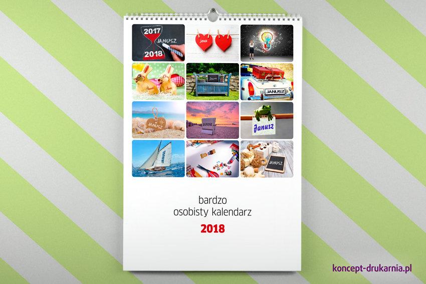Bardzo osobisty kalendarz personalizowany zawieszony na ścianie.