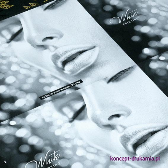 Druk kolorem białym na papierze Sirio Nero 290 g/m2.