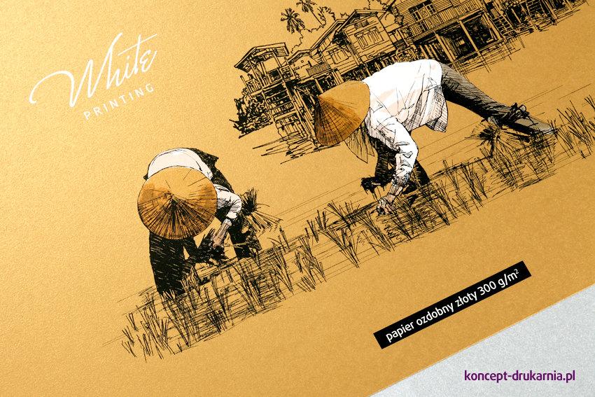 Ciekawy projekt graficzny wydrukowany na złotym papierze ozdobnym 300 g/m2.