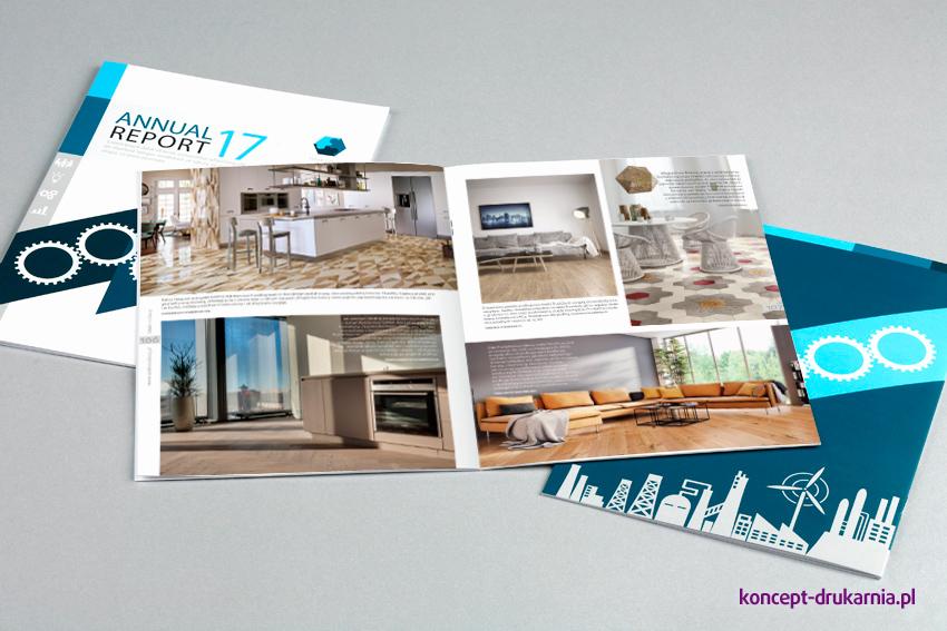 Kolorowe broszury (zadruk CMYK) w oprawie szytej.