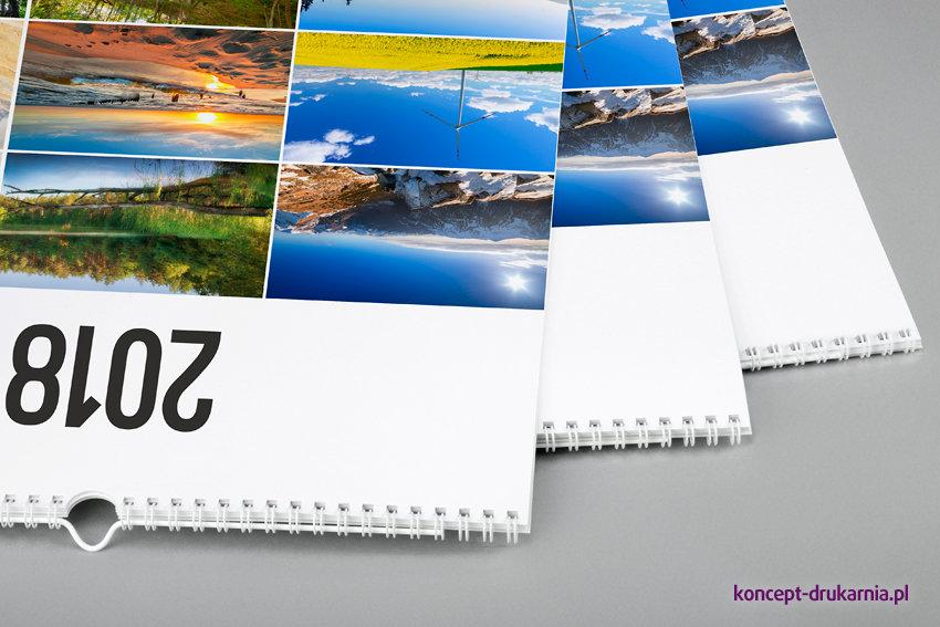 Firmowe kalendarze ścienne w oprawie spiralowanej (dostępne są również inne kolory spirali i zawieszek).