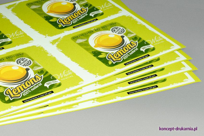Arkusze próbne wydrukowane na papierze Lime Tonic 320 g/m2.