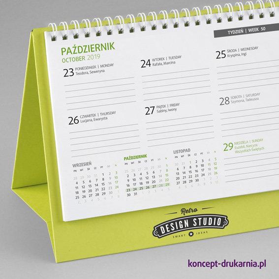 Tygodniowy kalendarz CREATIVE-2 ze stojakiem wykonanym z ozdobnego kartonu barwionego w masie Lime Tonic 320 g/m2.