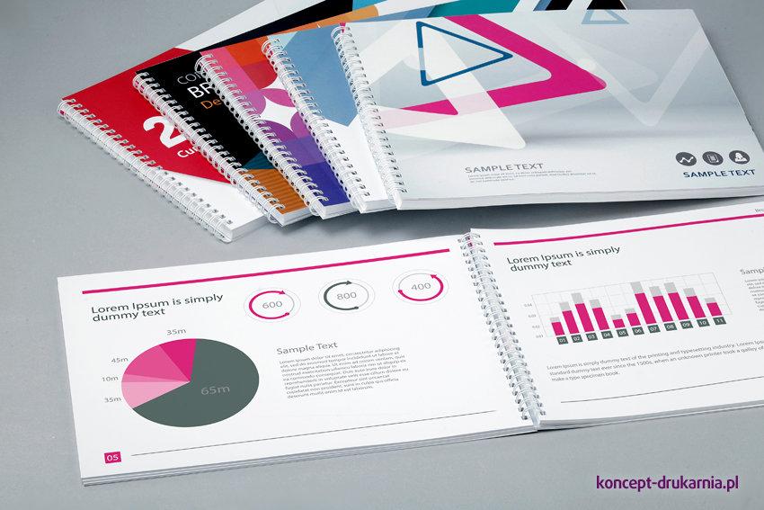 Katalogi w oprawie spiralowanej są bardzo praktyczną formą prezentacji różnych danych.