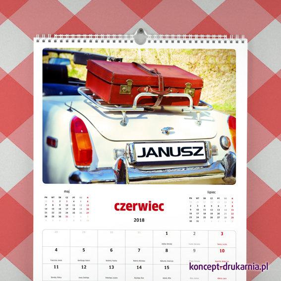 Spiralowany kalendarz ścienny z personalizowanym kolorowym zdjęciem.