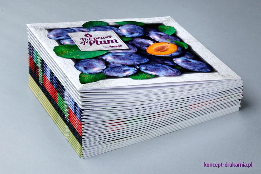Wydruk kwadratowych broszur na papierach kredowych.