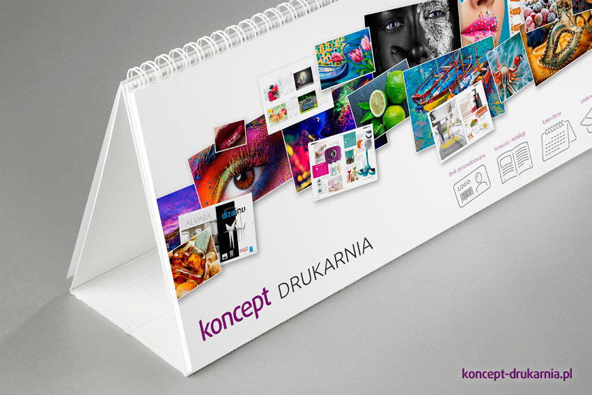Karty kalendarza HORIZON delux wydrukowane na kredzie matowej 200 g/m2.