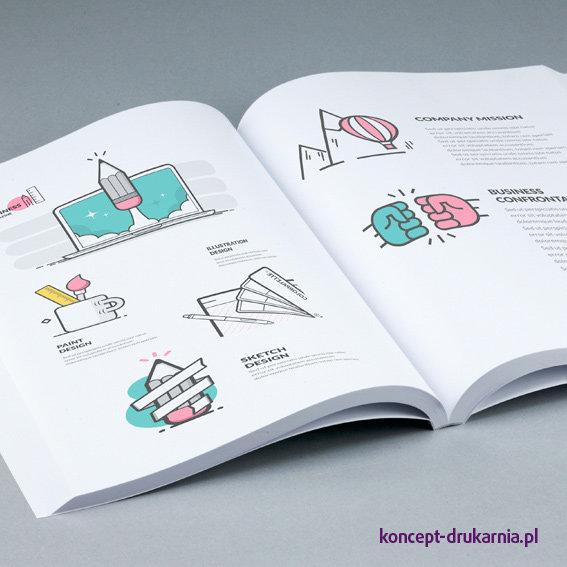 Środek książki wydrukowany na kredzie matowej 115 g, zadruk CMYK.