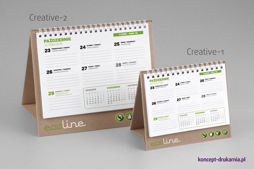 Kalendarze Creative w wersji dużej oraz małej. Stojaki wykonane z brązowego ekologicznego kartonu.