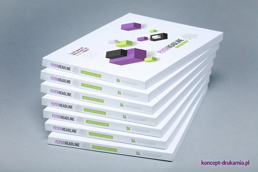 Katalogi klejone wydrukowane na papierach kredowych, okładki uszlachetnione folią soft touch.