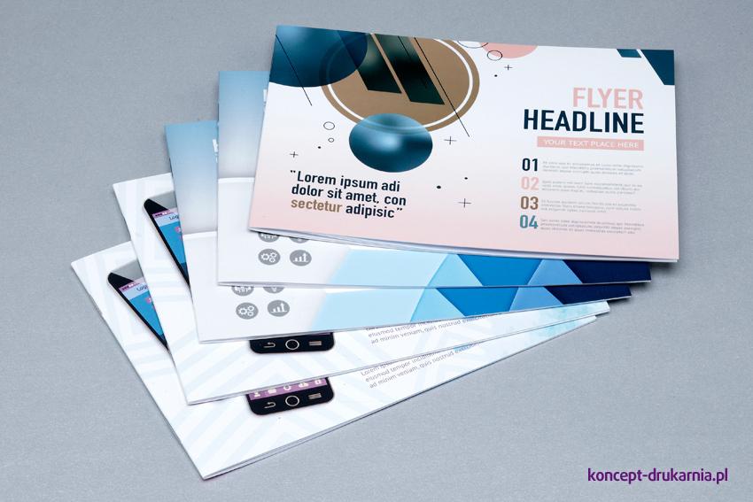 Przykładowe projekty broszur szytych wydrukowanych na papierach kredowych.