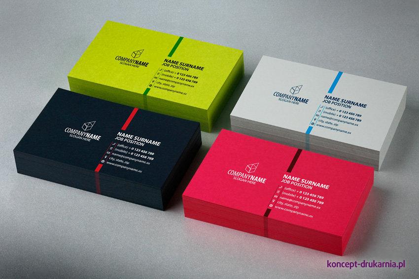 Wizytówki wydrukowane na papierach barwionych w masie: Lime Tonic 320 g/m2, Skin Grey 270 g/m2, Skin Black 270 g/m2, Cosmo Pink 320 g/m2.