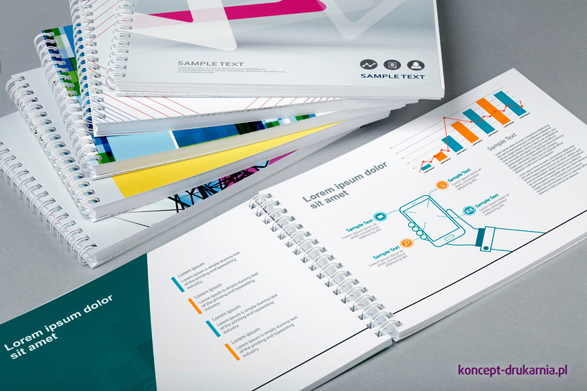 Katalogi spiralowane często wykorzystywane są do prezentacji produktów firmy.