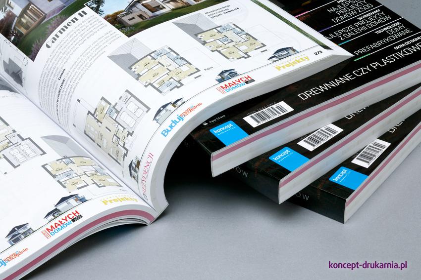 Wielostronicowe broszury klejone, okładka uszlachetniona folią błyszczącą.