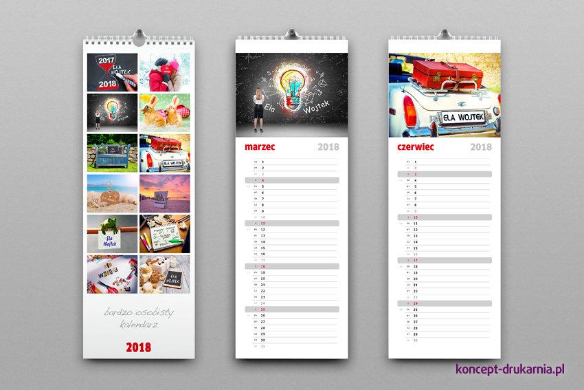 Kalendarze ścienne model SLIM z personalizowanymi zdjęciami, wydrukowane są na matowym papierze kredowym 200 g/m2.