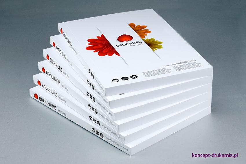 Wydruki katalogów klejonych w formacie A5 pionowo, wydrukowane na papierach kredowych.