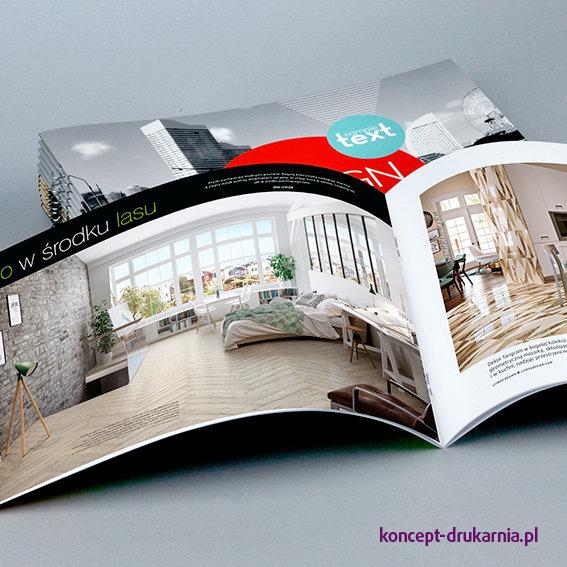 Efektowne broszury szyte i nadruk CMYK wydrukowane na papierach kredowych.