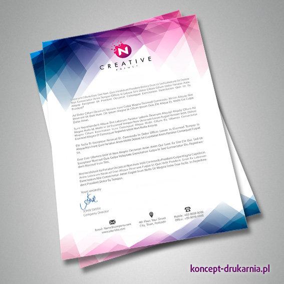 Ciekawy projekt papieru firmowego wydrukowanego w drukarni koncept.