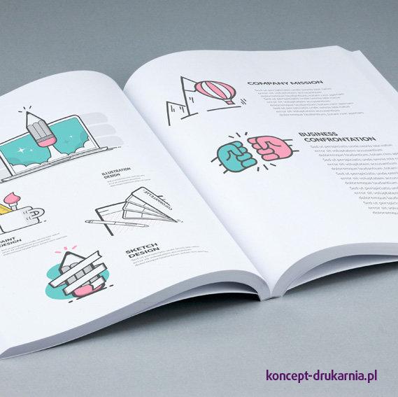 Wydruk broszury w wytrzymałej oprawie klejonej, zadruk CMYK.