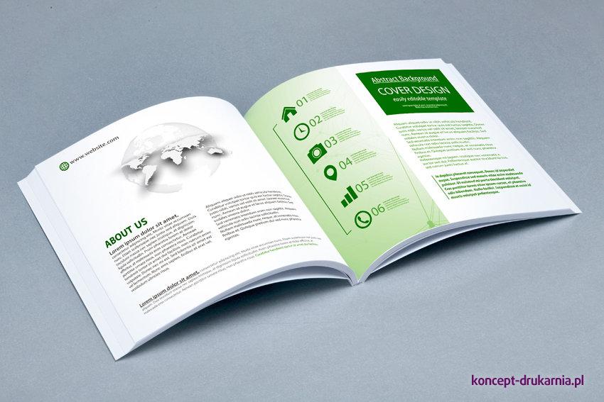 Środek kolorowej broszury klejonej wydrukowany na kredzie matowej 130 g/m2.