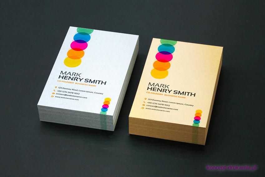 Efektowne wizytówki wydrukowane na papierach ozdobnych marki Fedrigoni: Platinum 300 g/m2, Aurum 300 g/m2.