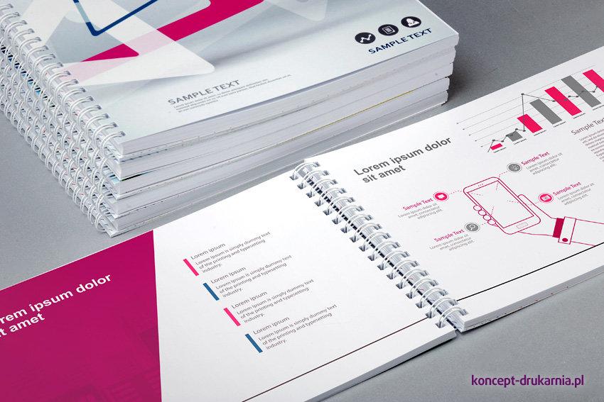 Kolorowe katalogi spiralowane wydrukowane na podłożach kredowych, zadruk CMYK.
