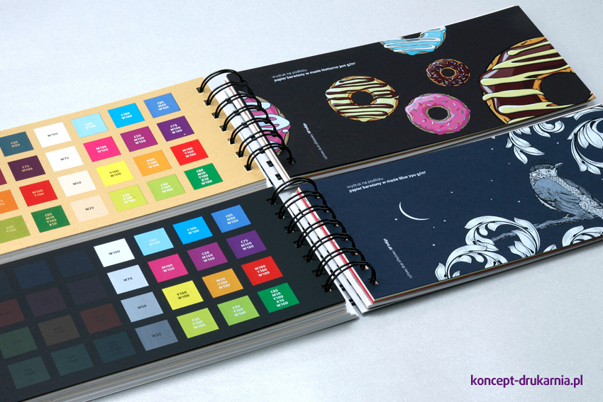Papiery barwione w masie zadrukowane inspirującymi grafikami, z użyciem białej farby.