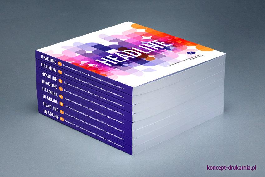 Na zdjęciu widzimy kolorowe broszury klejone. Okładki wydrukowane na kredzie matowej 250 g/m2.