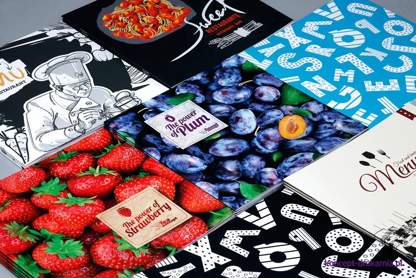 Na zdjęciu widzimy siedem projektów kolorowych broszur.